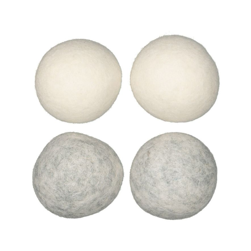 Torkbollar 4-p vit/grå