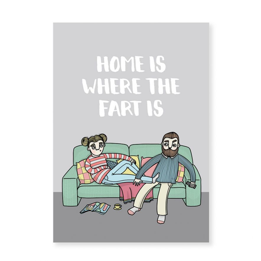 Vykort Home is where the fart is