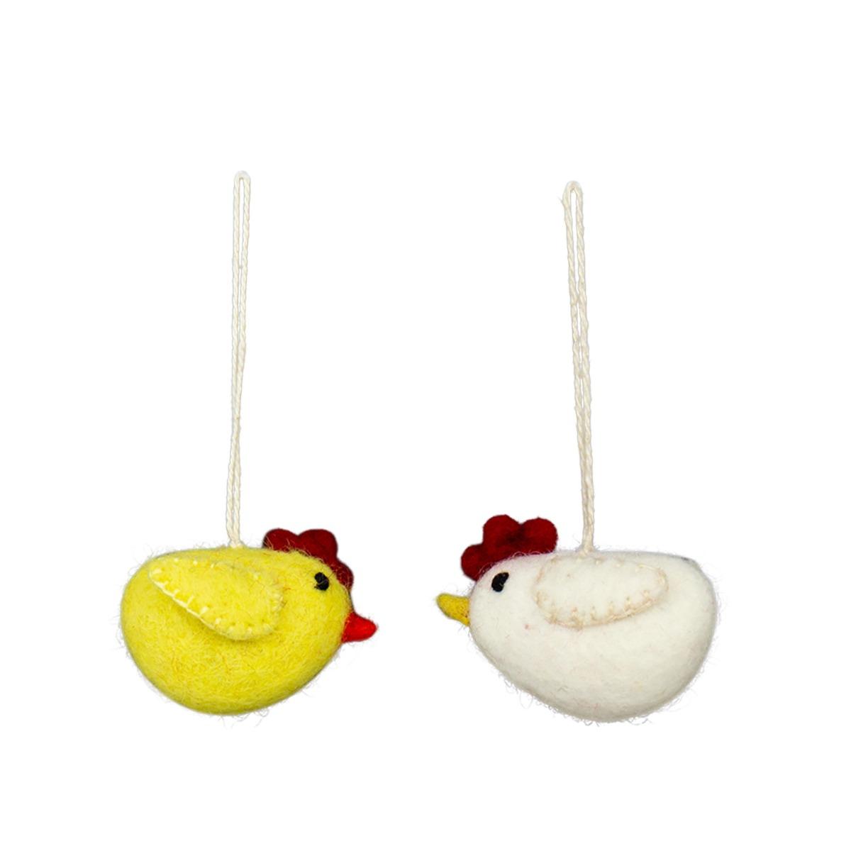Designtorget Påskhänge Kyckling 2-p gul/vit