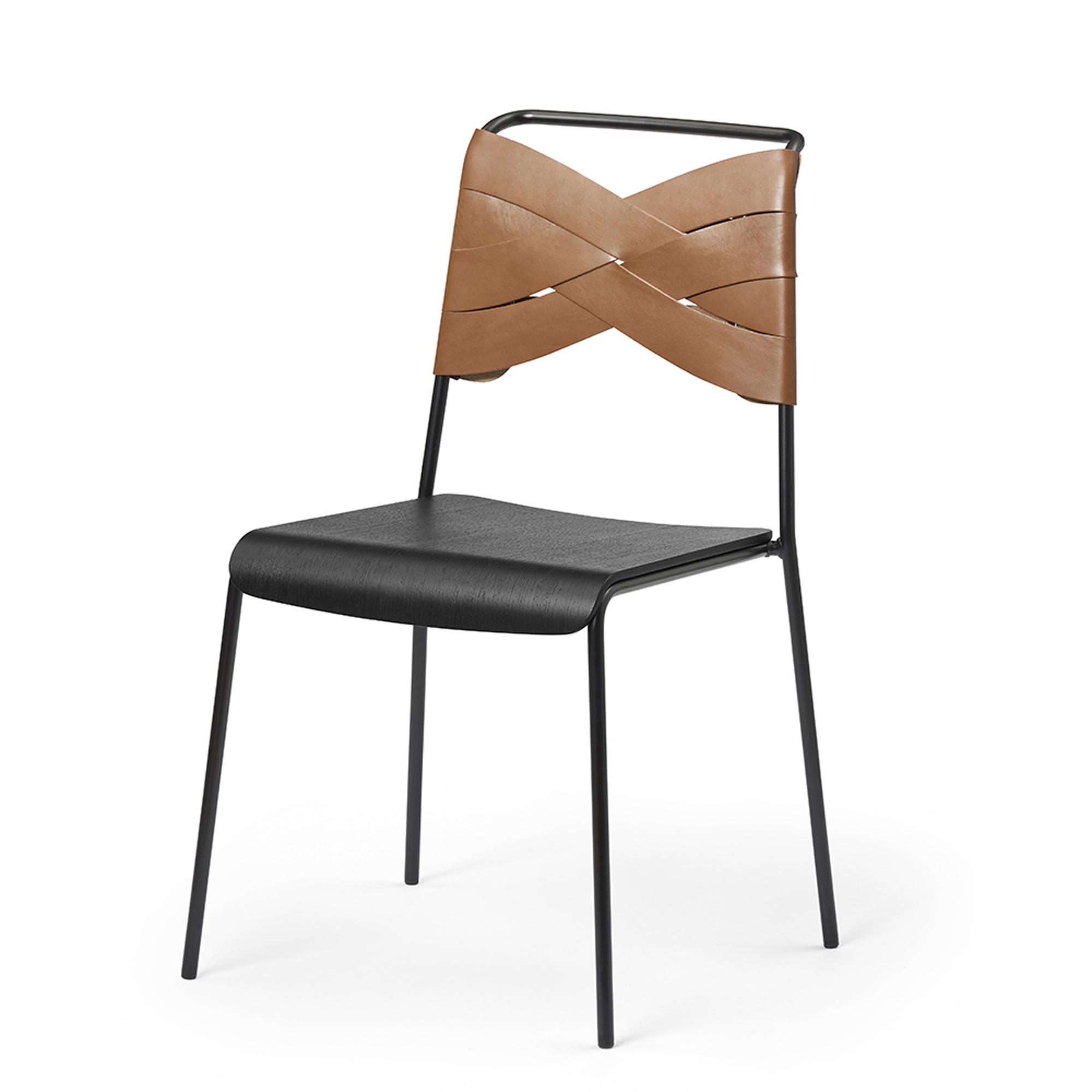 Designtorget Stol Torso black/cognac